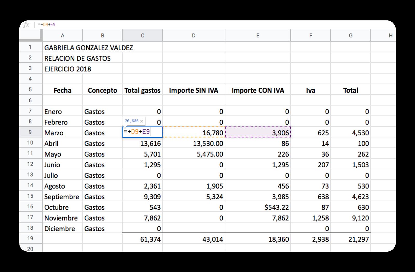Excel crea fórmulas y funciones